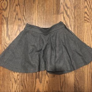 Zara Grey Wool Mini High Waisted Circle Skirt